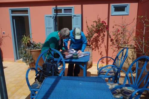 Marge and Phyl determine the route to Marrakesh