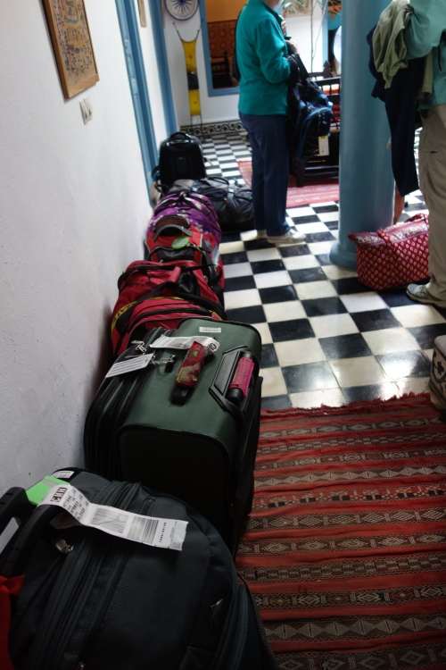 luggage in the lobby, Essaouira