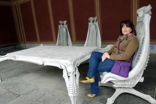 Judy enjoying a rest in a Giger chair