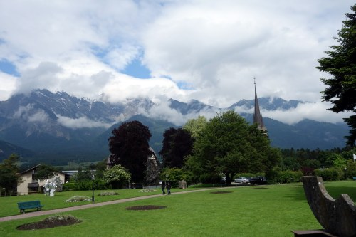 maountains from the grounds of the spa