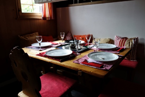 table set for fondue